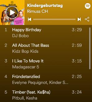 Kindergeburtstags Playlist von Rimuss auf Spotify