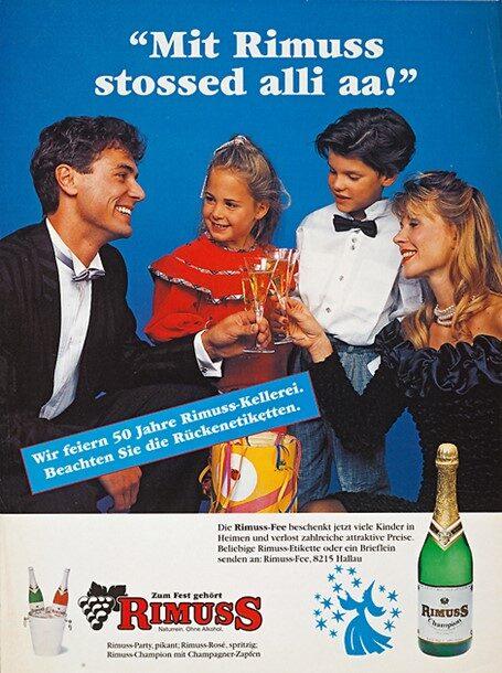 """Rimuss Print Werbung zum 50-Jahre Jubiläum 1995 mit Slogan """"Mit Rimuss stossed alli ah"""""""