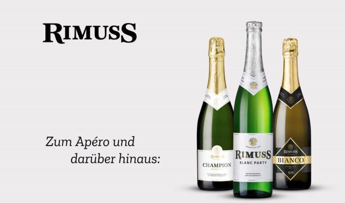 Die Rimuss Flaschen in neuem Design seit 2020. Zum Apéro und darüber hinaus