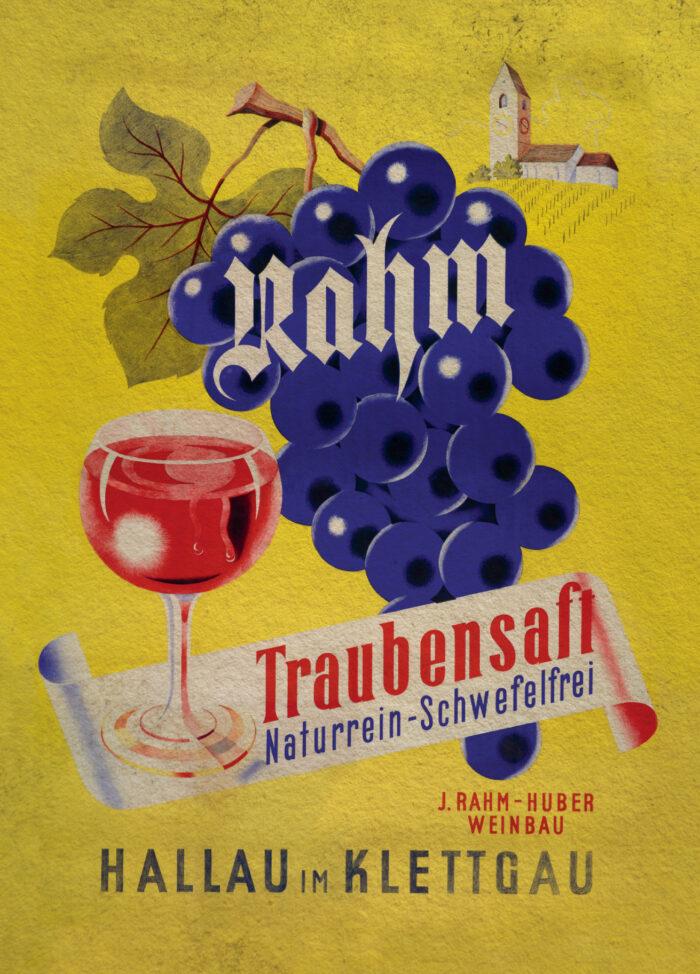 Vertriebsname Rahm Traubensaft 1950