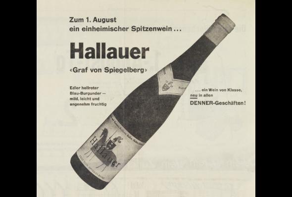 Der einheimische Hallauer wird erstmals unter der Marke «Graf von Spiegelberg» verkauft. 1959