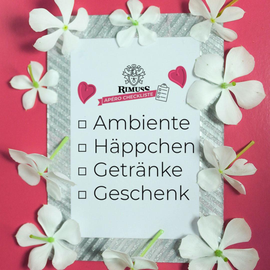 Checkliste für den Valentinstag Apero mit Rimuss