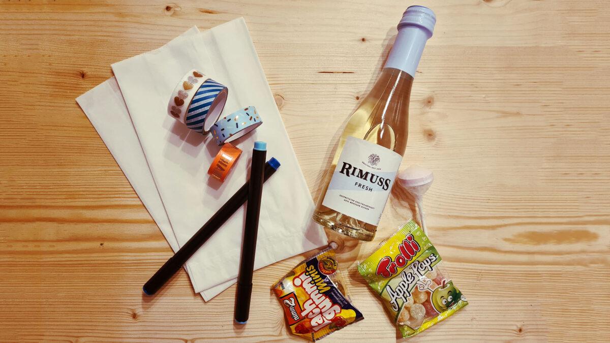 Ein tolles Give-Away für den Kindergeburtstag mit Rimuss Fresh 20cl zum selber basteln mit Süssigkeiten als Überraschung