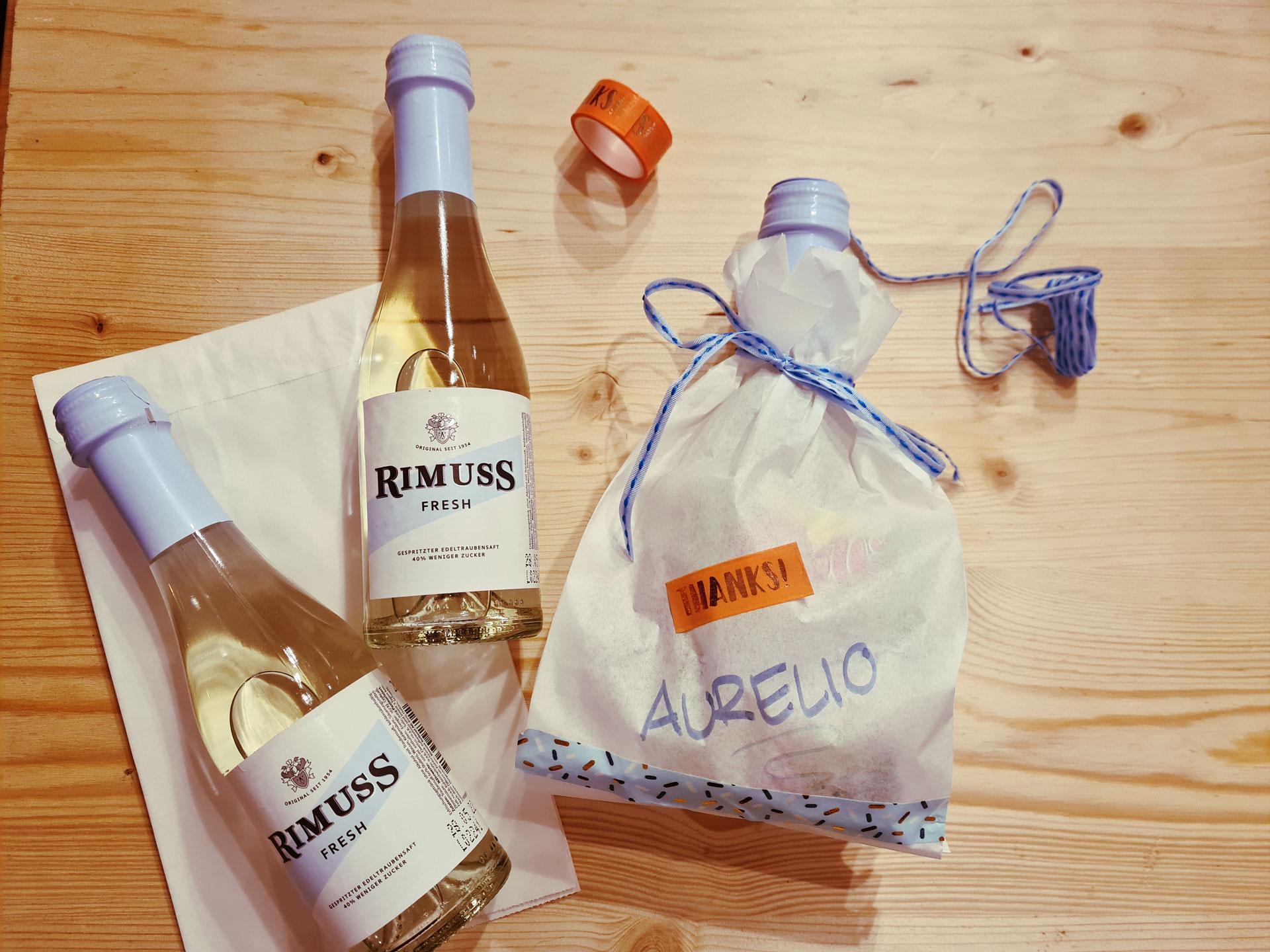 Ein tolles Give-Away für den Kindergeburtstag mit Rimuss Fresh 20cl zum selber basteln