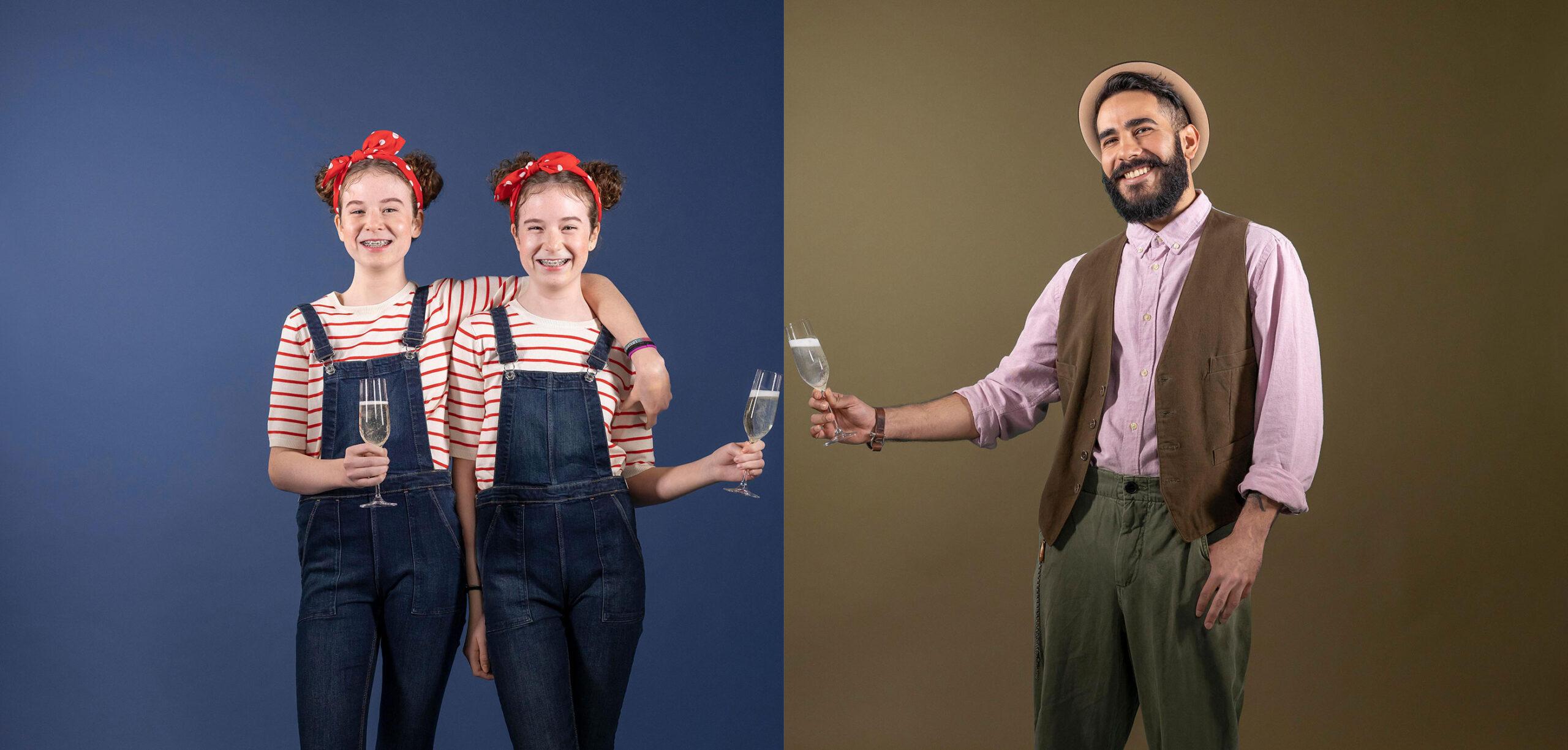 zwei Zwillings-Mädchen und ein cooler Hipster stossen zusammen mit Rimuss an beim Frühlings Apero.