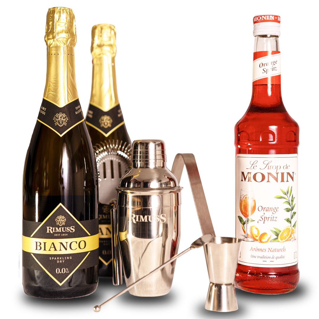 Mocktail Set Pink Sprizz mit Monin Orange Spritz, Rimuss Bianco Dry und einem 5-teiligen Cocktail Shaker Set. Für alkoholfreien Aperol Spritz