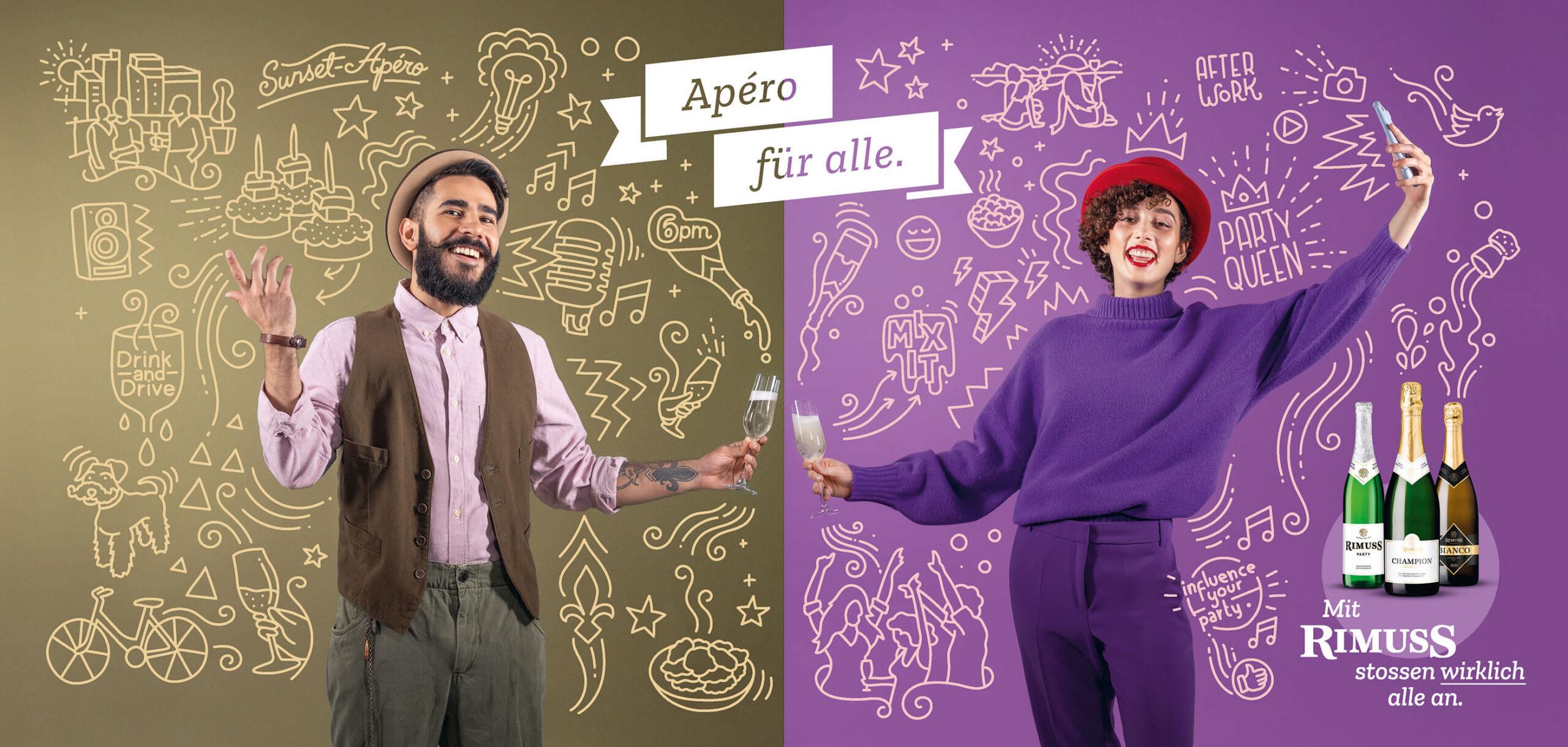 Rimuss Plakat Kampagne mit Hipster und Influencerin, welche anstossen mit Illustrationen