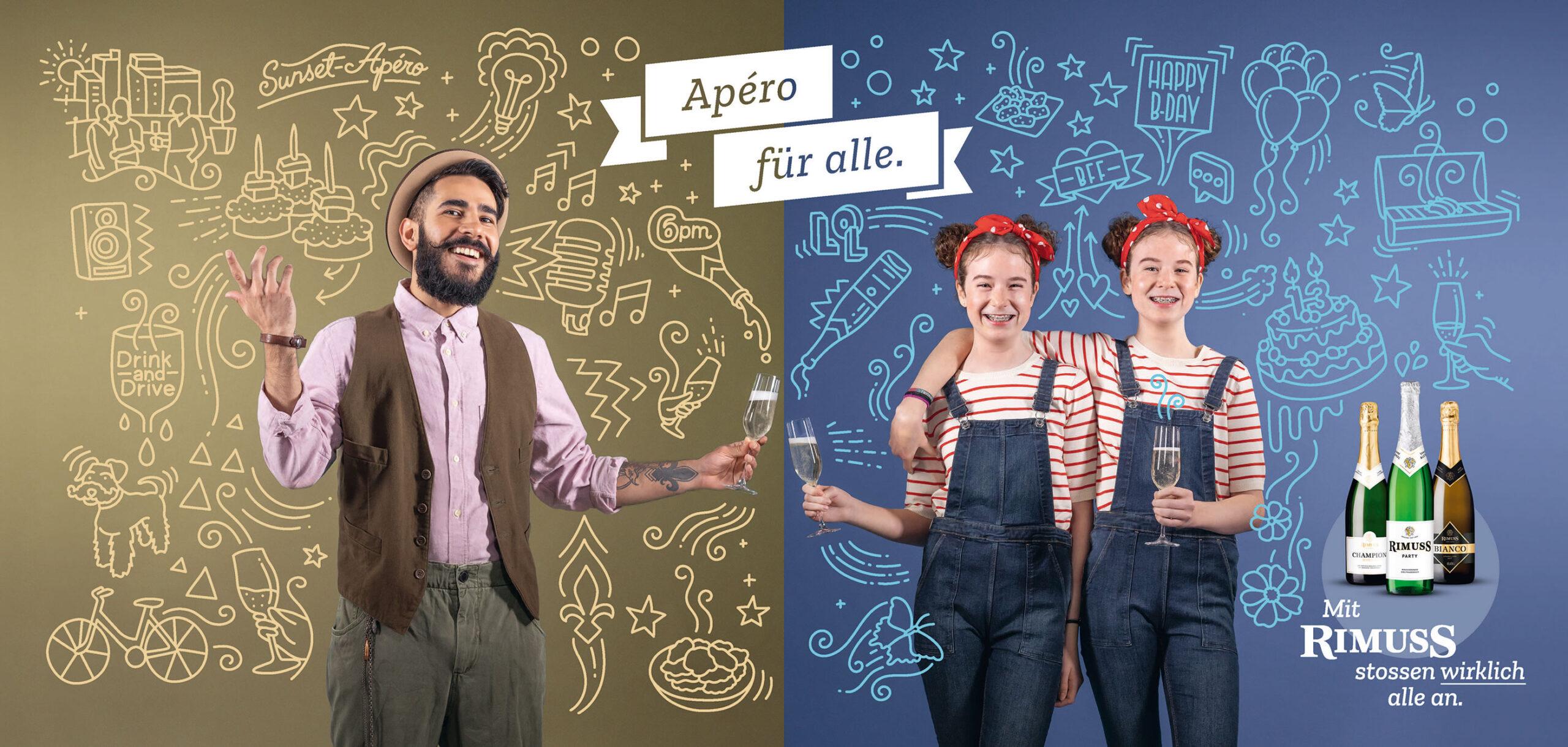 Rimuss Plakat Kampagne mit Hipster und Zwillinge, welche anstossen mit Illustrationen