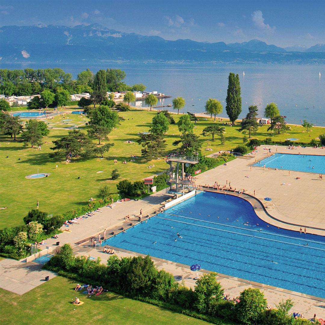 Das Bellerive Plage in Lausanne, Waadt, Perfektes Reiseziel für einen Badetag mit Rimuss Picknick