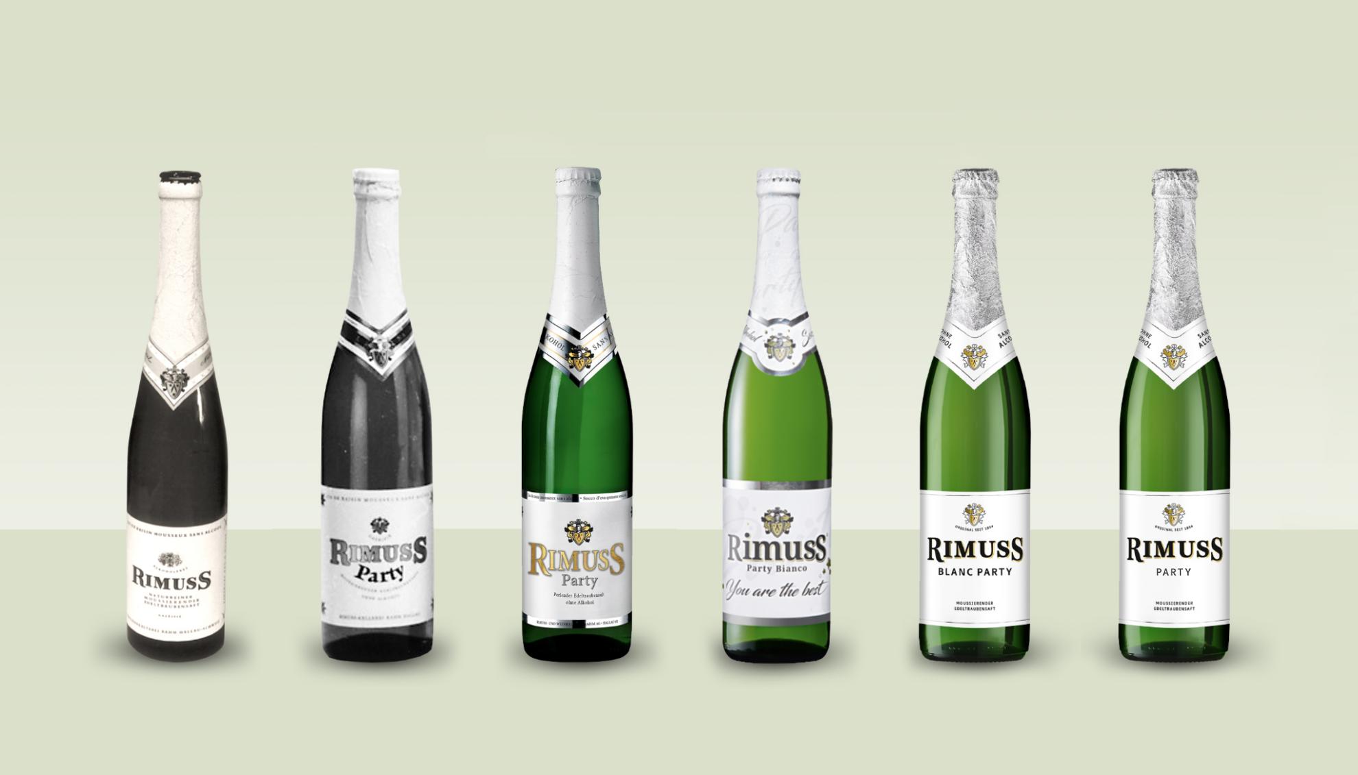 Rimuss Party Flaschen Designs und ihre Veränderung über die Zeit.