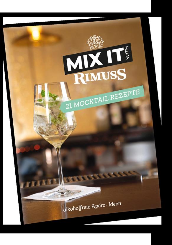 Das coole Mocktail Booklet von Rimuss auf Deutsch mit 21 spannenden Mocktail-Rezepten für jeden Apéro