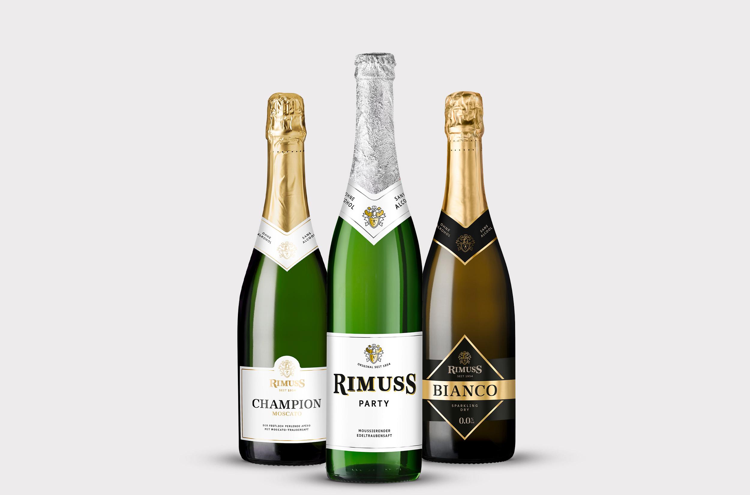 Die Leaderprodukte von Rimuss nebeneinander: Rimuss Party, Rimuss Champion Moscato, Rimuss Bianco Dry.