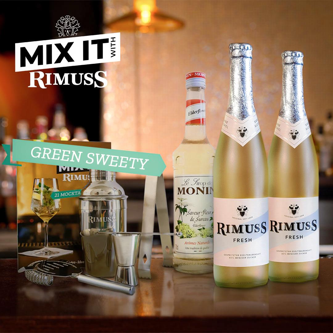 Das coole Mocktail Set für den Hugo alkoholfrei von Rimuss auf einer Bar Theke